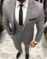 New Arrival Designs Grey Men Suit Slim Fit 3 Piece Skinny Tuxedo Prom Suits Custom Groom Blazer Terno Masculino Jacket+Pant+Vest