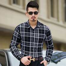 MarKyi 2017 new arrival mens cotton shirts casual plus size 7xl men business shirts long sleeve casual plaid shirt men
