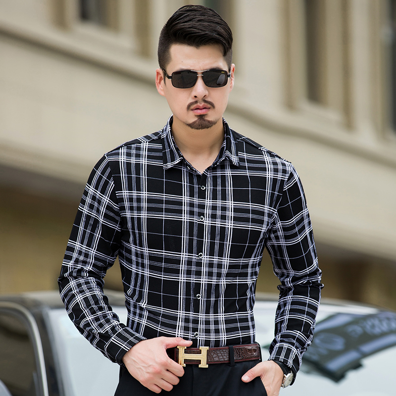 MarKyi 2017 new arrival mens cotton shirts casual plus size 7xl men business shirts long sleeve