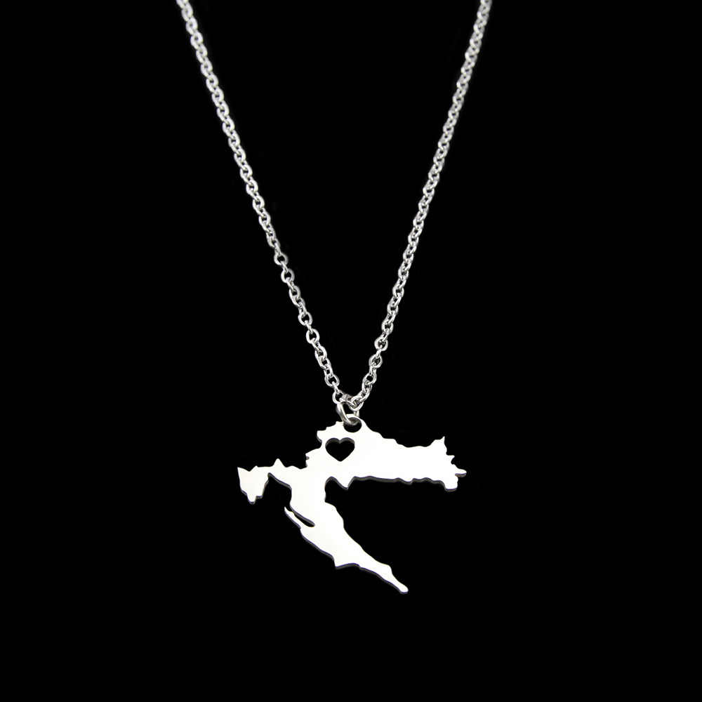 New Stainless Steel Necklace Croatia Map Pendant Necklaces for Women Silver Color Choker Jewelry Gift Croatian Custom Jewelery