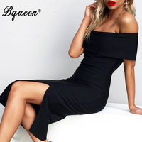HEGO 2016 New Off The Shoulder Split Sexy Elegant Bandage Dress H1715