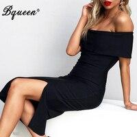 Bqueen 2017 Women New Off The Shoulder Elegant Split Bandage Dress
