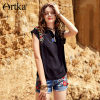 Artka 2018 Spring New Women Bohemian Vintage Floral Embroidered Siamese Sleeve Drop Water V Neck Simple