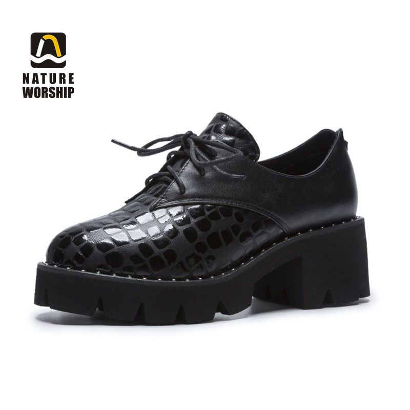 Spring/Autumn Women Pumps Plus Size Lady Shoes Genuine Leather Pigskin Insole Shallow Fashion Casual Round Toe High Heel Lace-up women s genuine leather patchwork lace up pumps brand designer thick high heel spring autumn high quality punk shoes for women