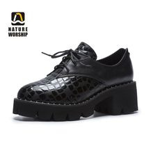 Spring/Autumn Women Pumps Plus Size Lady Shoes Genuine Leather Pigskin Insole Shallow Fashion Casual Round Toe High Heel Lace-up
