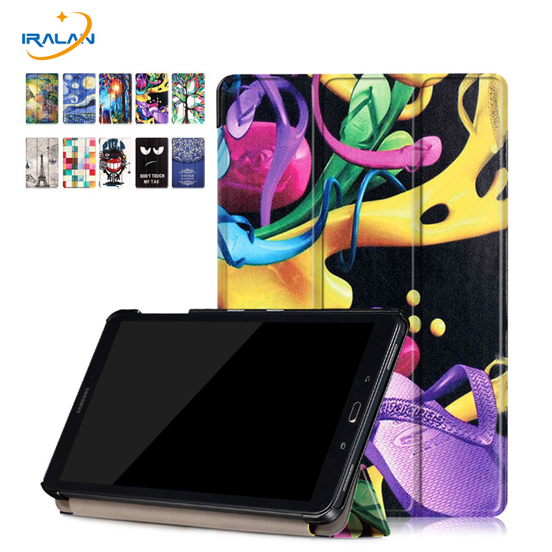 PU Leather Color painting Case For Samsung Galaxy Tab A A6 10.1 P580 P585 with S pen 2016 Smart Cover Protector shell skin+3 in1 ultra thin smart flip pu leather cover for lenovo tab 2 a10 30 70f x30f x30m 10 1 tablet case screen protector stylus pen