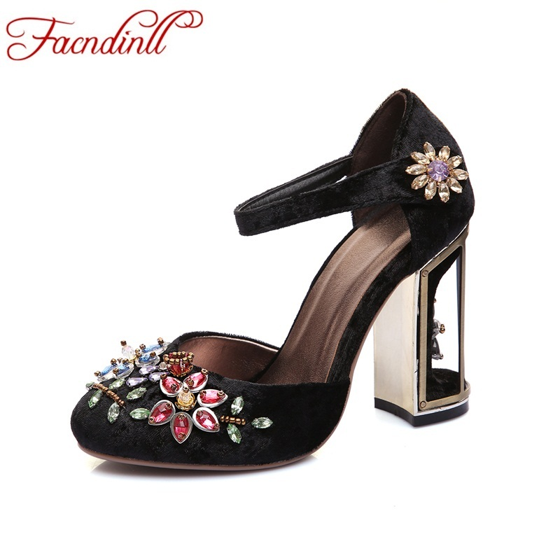 FACNDINLL Retro floral pleuche summer party wedding shoes women pumps luxurious cutouts high heel crystal female pumps plus size aidocrystal newest biling floral crystal around women high heel pumps wedding shoes and bags