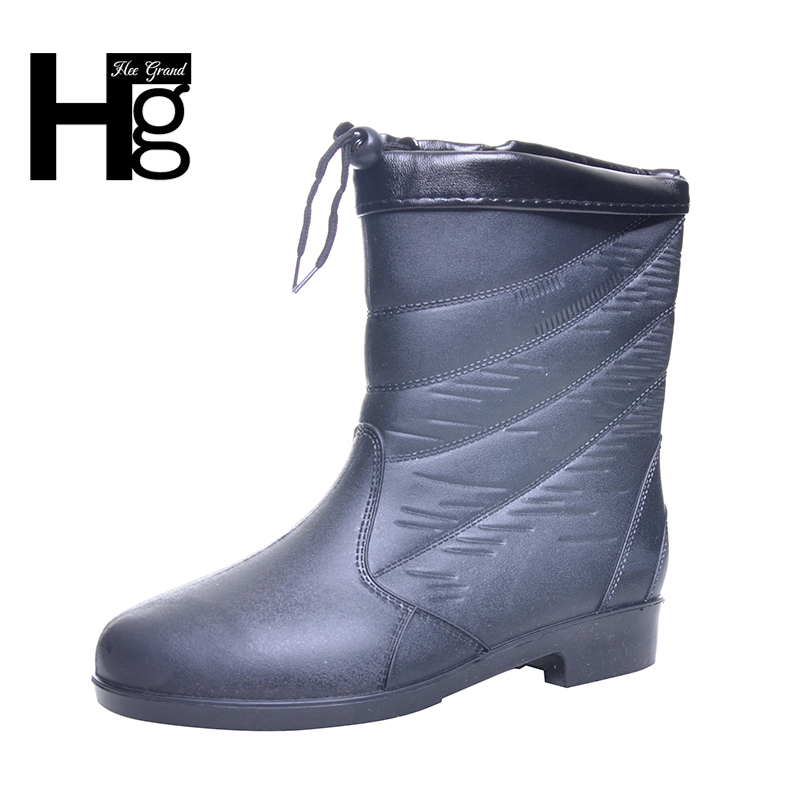 HEE GRAND 2017 Fashion Elastic Band Solid Women Rain Boot Waterproof Women Boots Rubber Low Heel Shoes XWX5824 hellozebra women rain boots waterproof fashion rubber elastic band solid color raining day shoes low heel 2017 autumn new