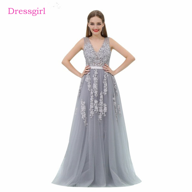 961f592be123d9 Silver 2019 Prom Dresses A-line V-neck Tulle Appliques Lace Backless Long  Women Prom Gown Evening Dresses Robe De Soiree
