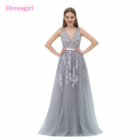 Silver 2018 Prom Dresses A Line V Neck Tulle Appliques Lace Backless Long Women Prom Gown