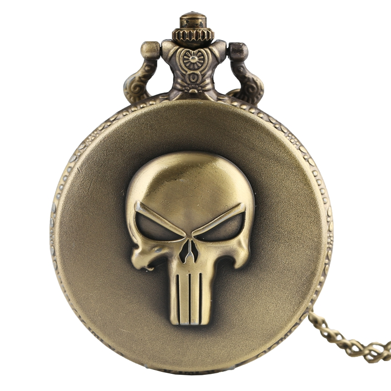 Steampunk Skull Quartz Pocket Watch Analog Full Hunter Necklace Pendant Chain Watches Roman Numerals Clock For Men Women Kid's