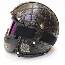 купить 3/4 Open Face helmet, Motorcycle Helmet Flat Leather  (M) black недорого