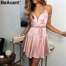 BeAvant Lace up backless sexy summer dresses women V neck spaghetti strap short dress Elegant ruffle satin party dress female