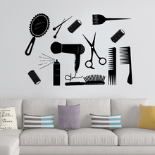 Pretty Salon furniture Barber Shop Wall Stickers Hair Paper For Hairdress Room Decal Sticker adesivi murali