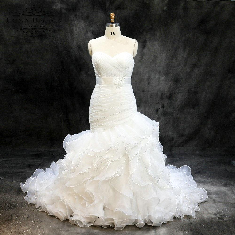 vestidos de novia sencillos Off Shoulder Pleat Organza Mermaid ...