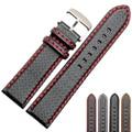 18mm 20mm 22mm 24mm Negro Costuras de Color Rojo de Fibra de Carbono de Cuero Reloj correa de la Banda deporte