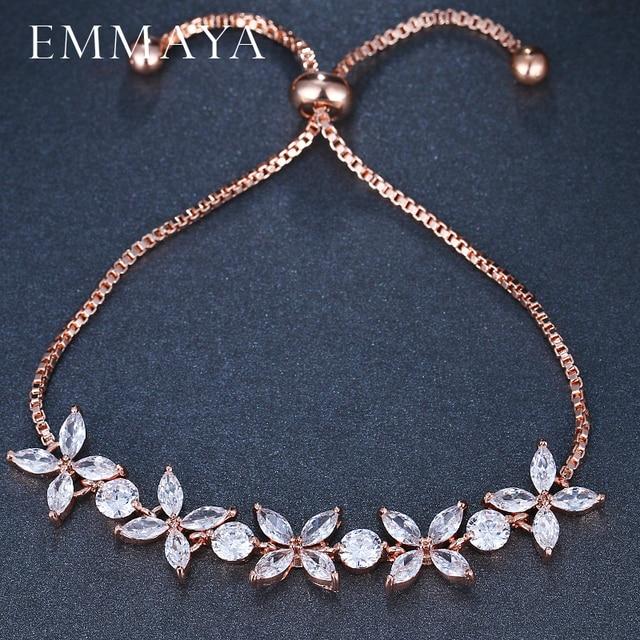 EMMAYA White Zircon CZ Stones Adjustable Flower Charm Bracelets for Women Fashion Cheap Jewelry