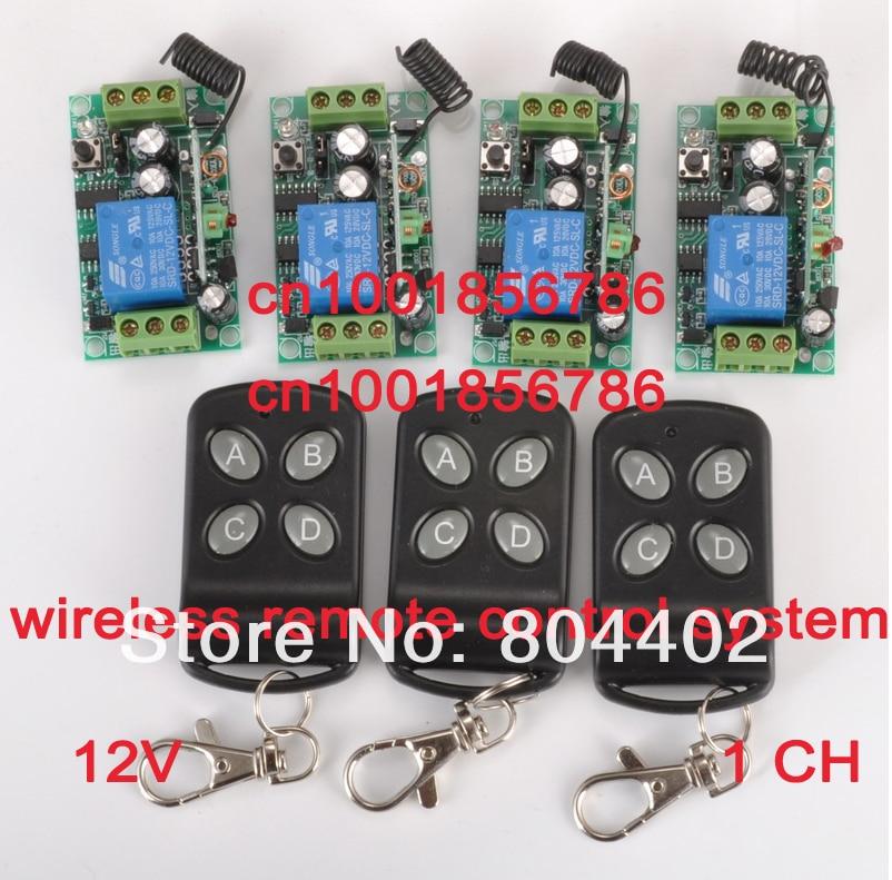New 1CH Power Switch RF Wireless Remote Control Switch System 3 transmitter +4 receiver(switch)12V 10A Toggle Momentary Latched rf wireless remote control switch 220v 110v power switch system 12 receiver