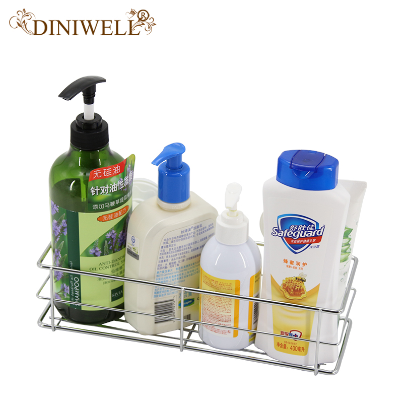 DINIWELL Household Storage Bathroom Removable Metal Sucker Rack Wall Mounted Shelf Shower Basket Strong Chuck Kitchen Organizer