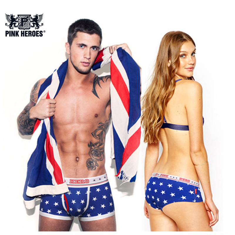 Pink Hero Fashion Couple Panties Underwear Stars Printed Hot Brand Mens Boxers Women Lingerie Homme Cueca Lovers Lady Underpants