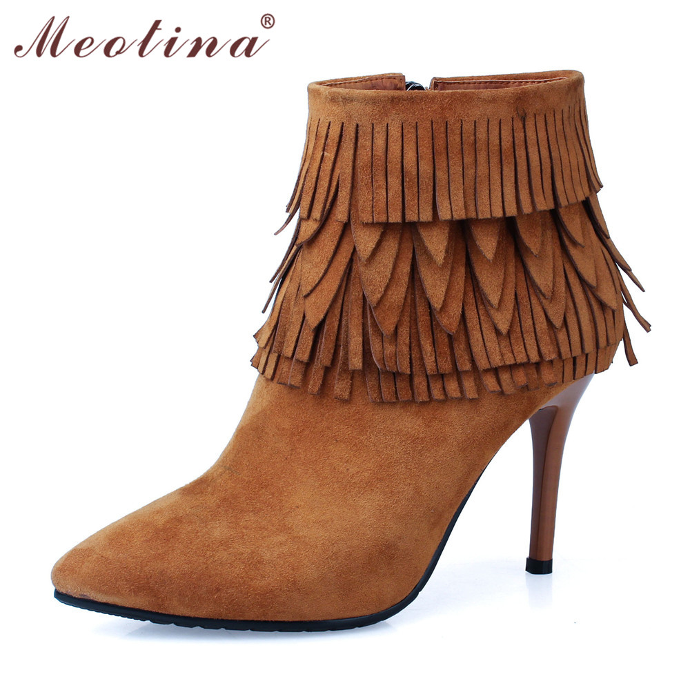 ФОТО Meotina Shoes Women Boots Natural Kid Suede Ankle Boots High Heel Tassel Boots Zip High Quality Fashion Boots Discount