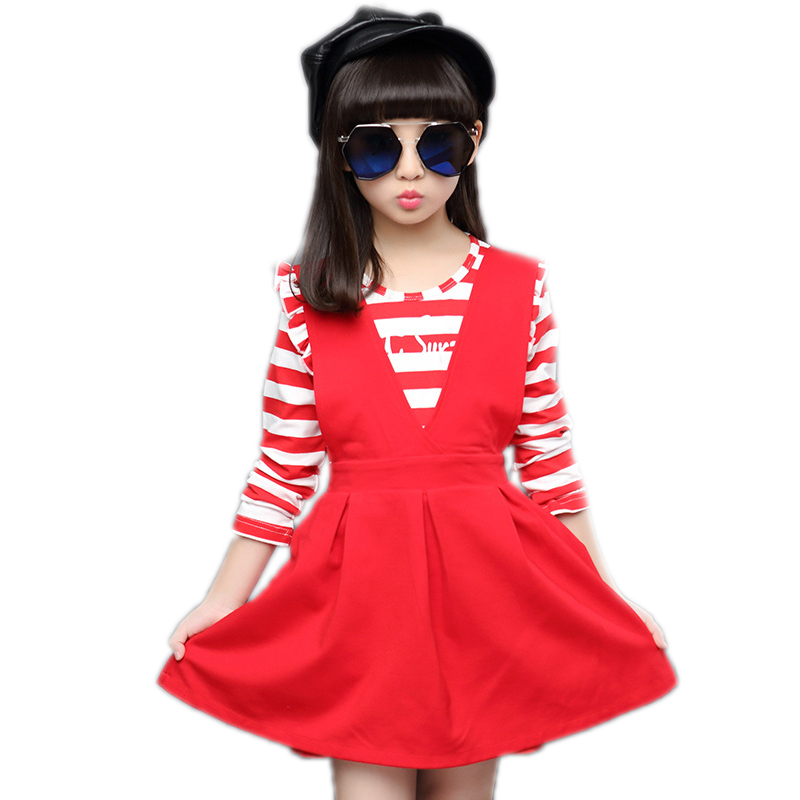 2017 autumn kids clothes cute children clothing set princess baby girl dress set striped t shirt +strap dress 2pcs clothing set children s cotton striped t shirt pants cartoon cute kitty cat bow striped long sleeved kt baby girl s clothing set kids clothes