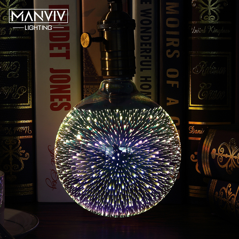 3D Stereoscopic Novelty LED Light Bulb 110V 220V E27 A60 ST64 G80 G95 G125 Fireworks Silver Plated Decorative Light Christmas