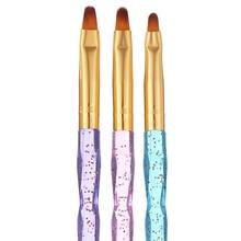 3-Packs плоская УФ-Гелевая щетка акриловые кисти для ногтей Nail Art Tips Builder кисть для разрисовывания ногтей набор ручек