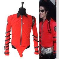 MJ Michael Jackson Klasik KÖTÜ Yenilik KıRMıZı BODYSUIT (PRO SERISI) serin Performans Leotard için İngiltere Askeri ABD Tarzı Gösterir