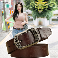 New Fashion Belts For Women Good Quality Cow Genuine Leather Pin Buckle New Vintage Pattern Thin