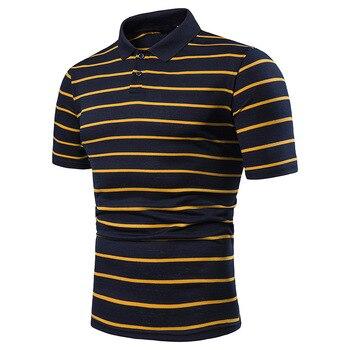 Men's short sleeve polo chest three stripe color matching fashion collocation cross-border lapels men short sleeve POLO 6