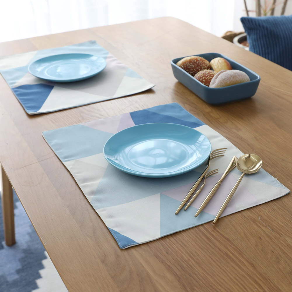 New Arrival 1PC Modern Nordic Waterproof Polyester Cotton Blue Table Mats Disc Pads Bowls Coasters For Home Kitchen Decoration