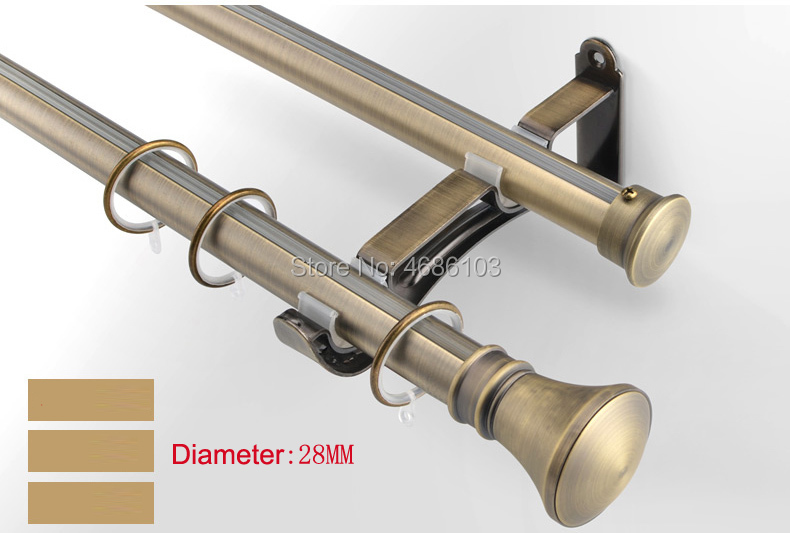 Bronze color Stainless steel curtain rod Diameter 28mm single curtain rods and accessories for Bedroom/study room/living roomBronze color Stainless steel curtain rod Diameter 28mm single curtain rods and accessories for Bedroom/study room/living room