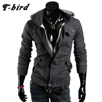 T Bird 2107 Cardigan Men Hoodie Cotton Autumn Winter Hoodies Male Sweatshirts Hip Hop Button Brand