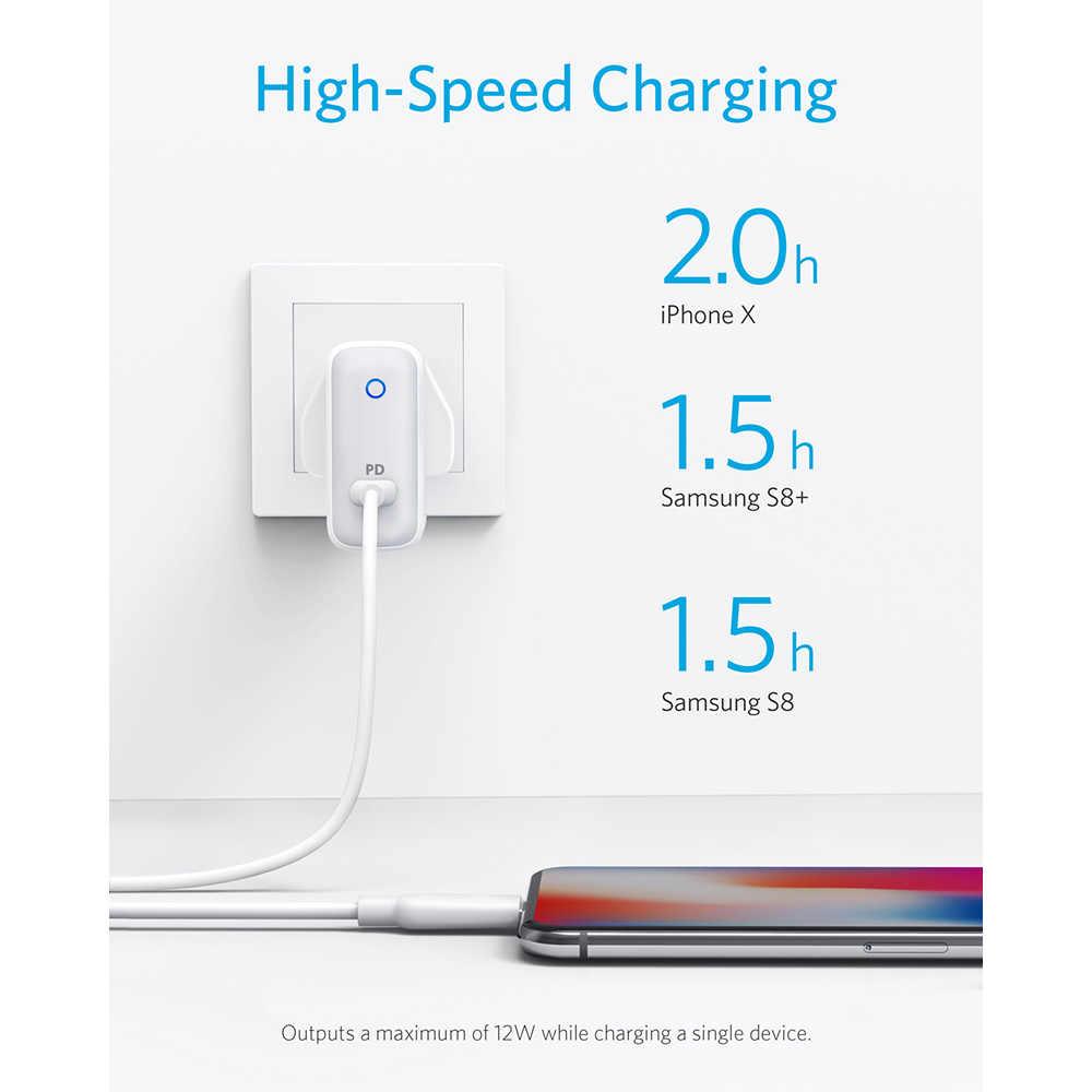 Cargador de pared Anker PowerPort Speed 1, USB tipo C 30W y entrega de energía para HTC 10, nexus LG Pixel C Samsung W700 MacBook iPad etc.