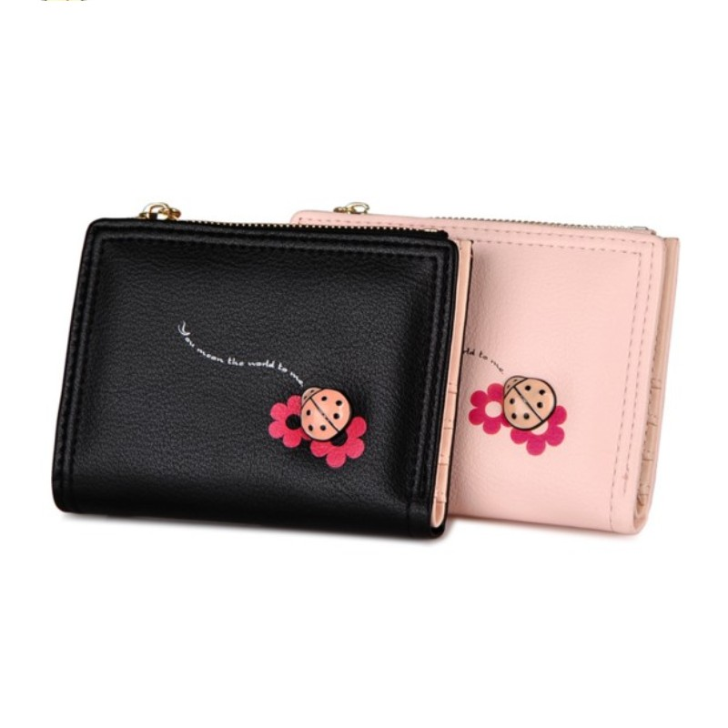 Mini Women's Purse Wallet Small Size Zipper Coin Purse Black women bag with Card Holder Student wallet Lady clutch bag Girl gift fashion women coin purses dots design mini girl wallet triple zipper clutch bag card case small lady bags phone pouch purse new