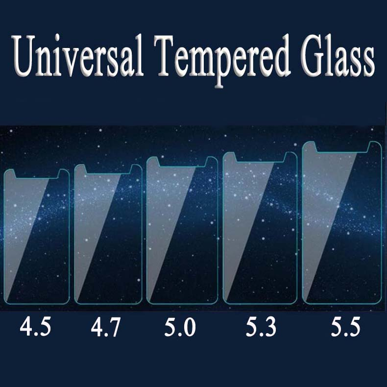HD 9H Universal Tempered Glass Anti-Shatter Protective Film for 4.0 4.5 4.7 5.0 5.3 5.5 5.7 6.0 inch Ultra Thin Screen Protector