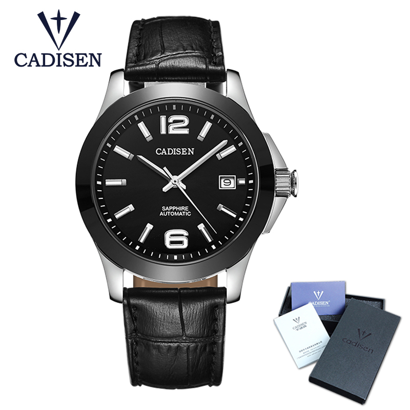 Cadisen Classic Men's Watches AUTOMATIC Date Automatic Mechanical Analog Skeleton Black Leather Men's Watch Black Ceramic тонарм scheu analog scheu classic mkii 10