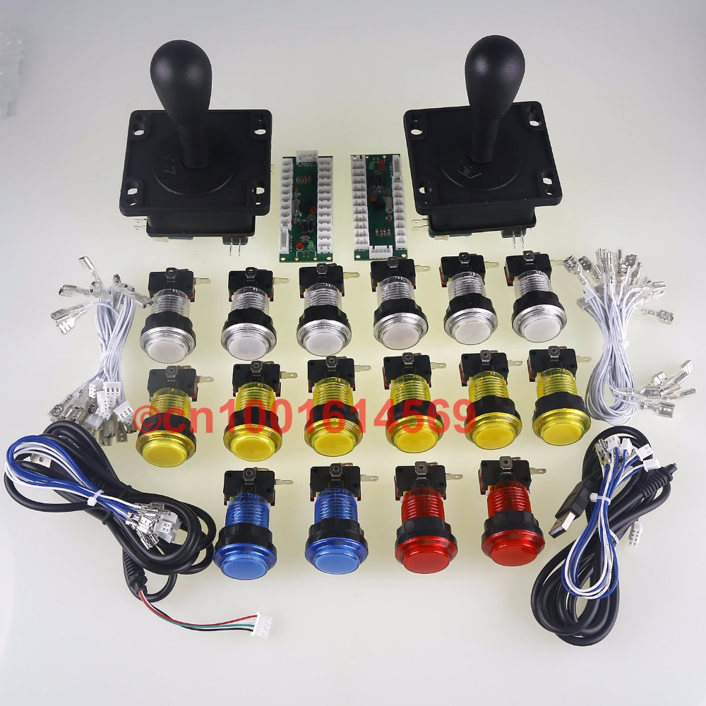 Arcade DIY Kits Parts 2 Players 16 X Arcade LED illuminate Buttons & Arcade Gamepads & Zero Delay PC USB Port Controller Handle simas рукомойник simas arcade ar036