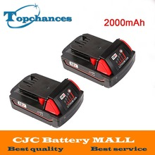 2X High Quality 18V 2000mAh Li-Ion Replacement Rechargeable Power Tool Battery for Milwaukee M18 XC 48-11-1820 M18B2 M18B4 M18BX