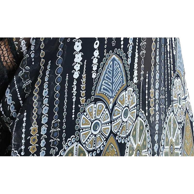 Kanifio גדול נשים שיפון חולצה בתוספת גודל עליון חולצה ציצית ארוך קימונו קרדיגן שמש הגנת כיסוי נשי טוניקת Blusas