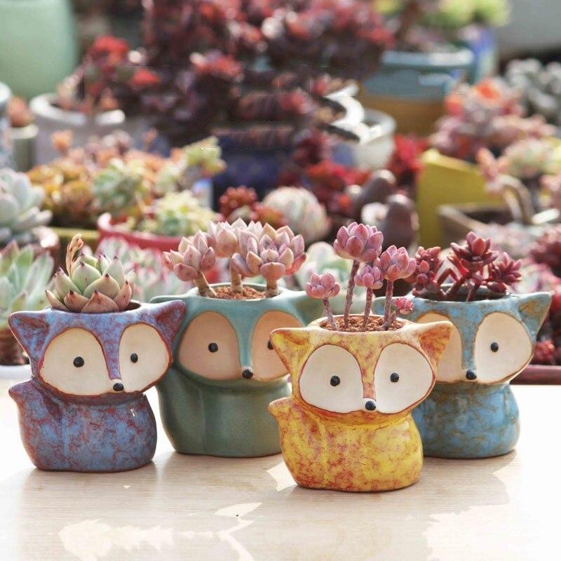 Creative Cartoon Fox Ceramic Flower Pot Thumb Pot Succulent Plant Pot Stoneware Breathable Pottery Basin Garden Decoration