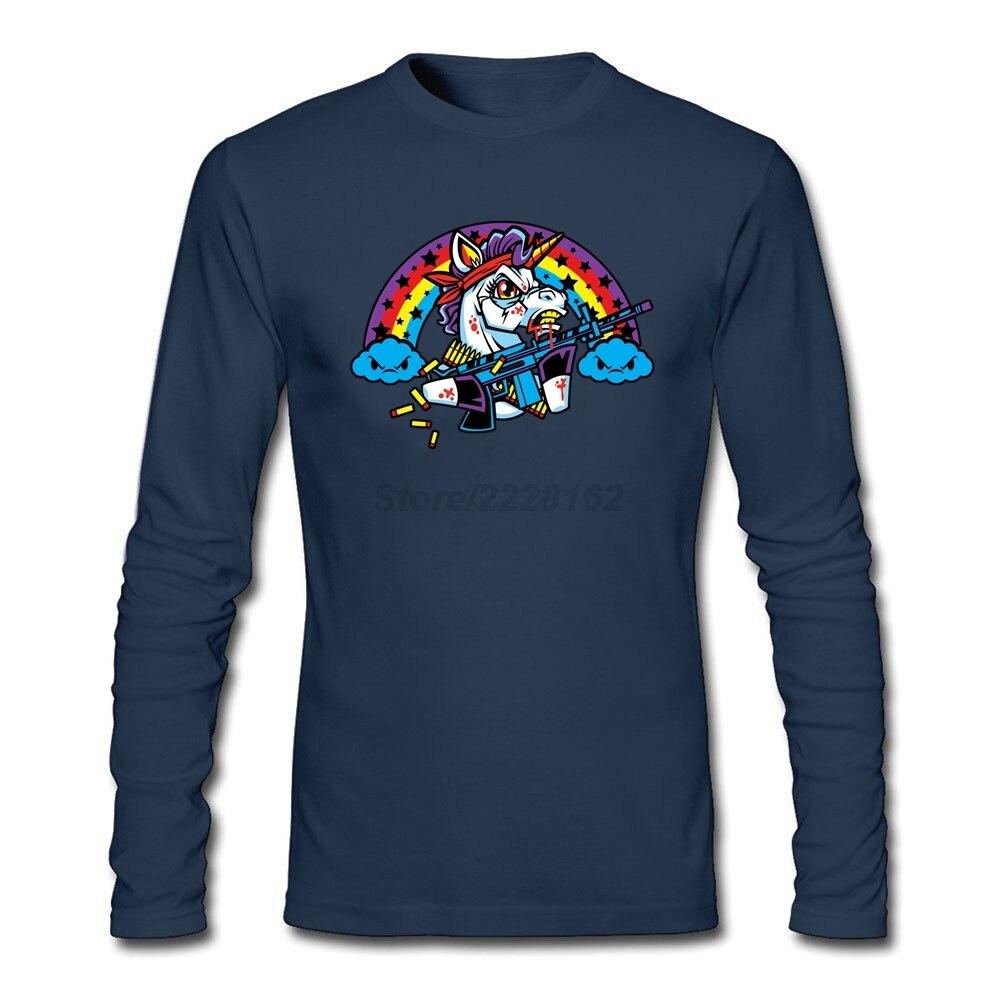 625c3136f Nice Men Rainbo First Blood T Shirt 80s Custom printed Tees Evil Unicorn t  shirts Pure Cotton Long sleeved Blouses For Teenage
