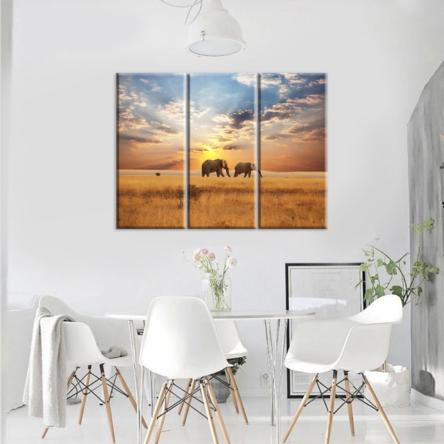 Sunset Elephant Wall Art Canvas Prints Home Decor For Living Room Pictures 3 Panel Large HD Printed Painting Framed Ready To