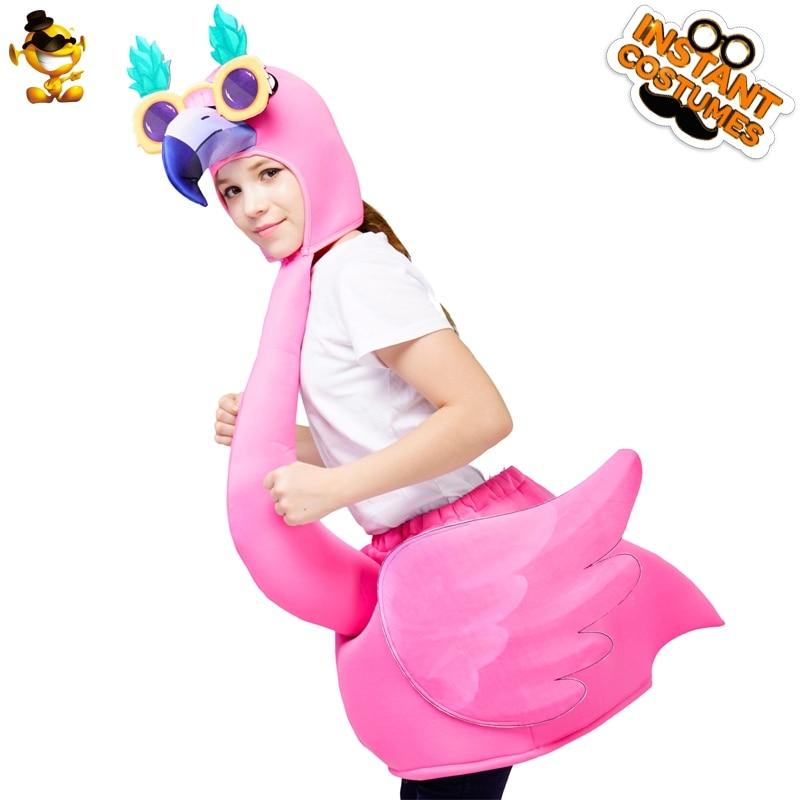 Adult Flamingo Fancy Dress Costume Summer Tropical Bird Men Ladies Animal Unisex