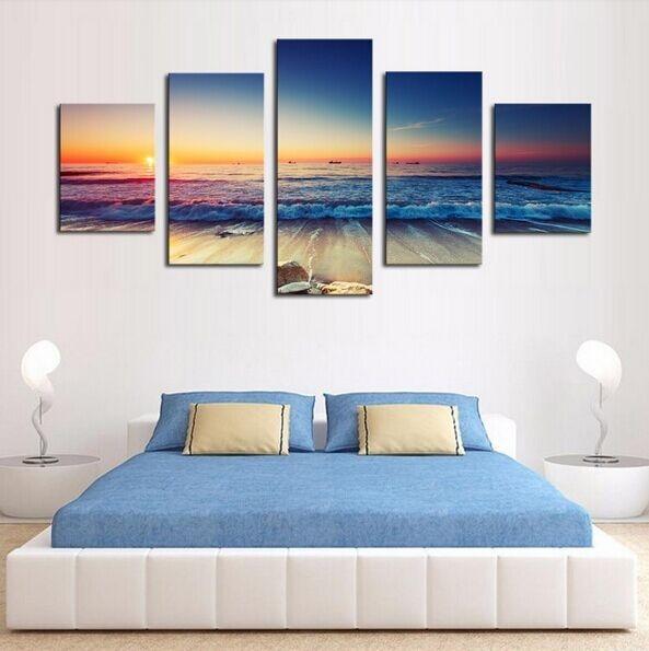 5 panel plakatlar çap kətan dəniz mənzərəsi gün batımı - Ev dekoru - Fotoqrafiya 5