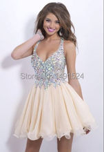 2014 New Fashion Homecoming Kleider Sexy Tiefer V-ausschnitt Mini Chiffon Short Crystal Mieder Kurze Cocktailkleider