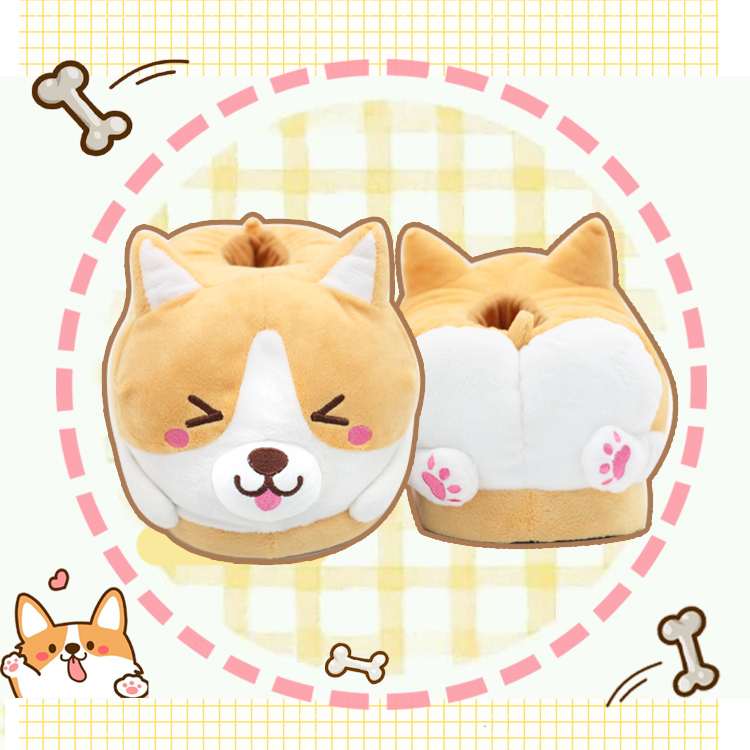 Straightforward Corgi Dog Butt Cotton Shoes Winter Couple Warm Home Slippers Flip Flop Reliable Performance