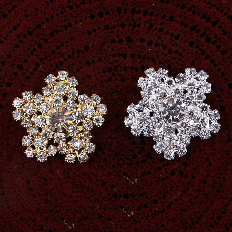 30 шт. 20 мм круглый кристалл горного хрусталя серебро и позолоченный металл перлы Пуговицы плоской задней Украшения rmm222