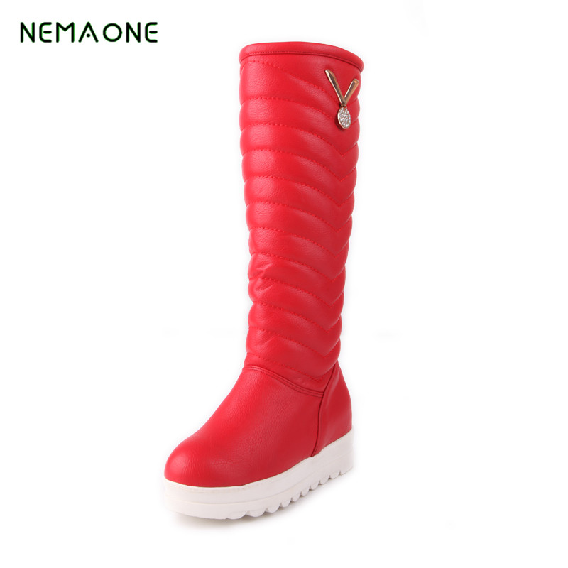 NEMAONE NEW Large Size Snow Boots Waterproof Over The Knee Boots Thigh High Boots Long 2016 Winter Shoes Women Fashion Warm 2017 winter new fashion women brown or white color square toe heels over the knee high thigh boots martin long boots big size 42
